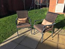 patio garden furniture including large umbrella shade