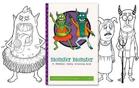 Adult Coloring Book Of Silly Monsters Cute By Slslines On Zibbet