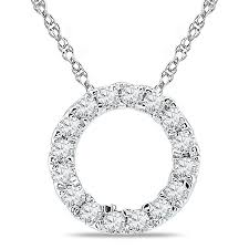 t w diamond circle pendant in 10k white gold