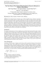 Loyalist college of applied arts and technology: The Test Study Of Bus Engine Mounting Device Dynamic Behavior In Engine S Idling Status Scientific Net