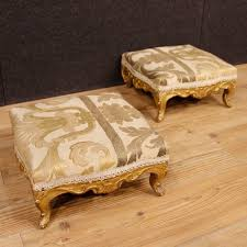 950 Pair of antique French footstools in gilt wood from 19th century -  https: