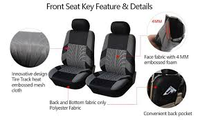 pair car washable seat cover cushion protector black gray polyester four seasons