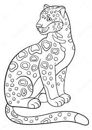 Kleurplaten Cute Gespot Jaguar Glimlacht Stockvector Ya Mayka