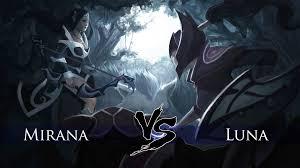 dota 2 mirana vs luna one click battle youtube