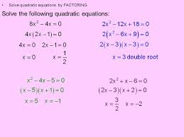 2 solve the following quadratic equations solve quadratic equations by factoring