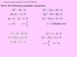 2 solve the following quadratic equations solve quadratic equations by factoring