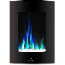 vertical electric fireplace in black with multi color flame and crystal display