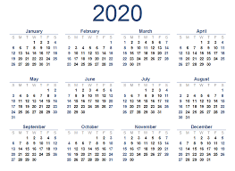 Yearly 2020 Printable Calendar Templates Pdf Word Excel