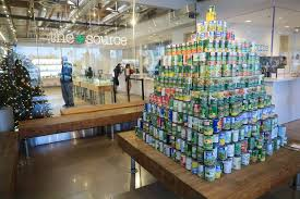 a pyramid of canned foods donated as part of a food drive at the source