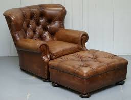tap and hold to zoom image ralph lauren writer s aged brown leather armchair footstool ottoman