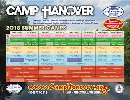8x11 Calendar 2018 Summer Calendar 8x11 Camp Hanover