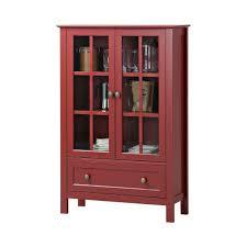 details about red wooden china hutch curio cabinet kitchen storage display glass door cupboard