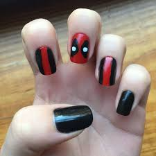 Deadpool Nail Art Nail Art Nail Designs Marvel Nails Superhero