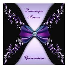Black And Purple Invitations Elegant Purple Black Diamond Bow Quinceanera Square Paper Invitation Card