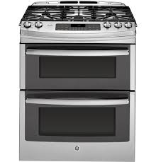 "ge profileâ""¢ series 30 slide in front control double oven gas product image"