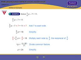 pre algebra multi step equations with fractions and decimals solve p 7