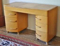 heywood wakefield kneehole desk vintage mid century modern light wood