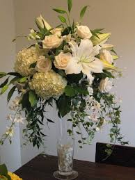 Tall Hydrangea Centerpieces For Weddings white, Roses, Centerpiece,  Orchids. alternative tall vase arrangement for the pedestals
