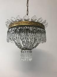vintage crystal flush mount chandelier 1