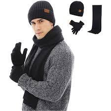 Mens Designer Hat Scarf And Gloves Set 3 Pieces Winter Beanie Hat Scarf Touch Screen Gloves Knitted Cap Set Unisex For Men Women