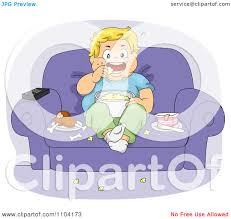 boy watching tv clipart. clipart overweight boy eating jump food and watching tv in a chair - royalty free vector illustration by bnp design studio