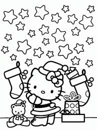 Small Picture Hello Kitty Coloring Page Christmas And Stars Christmas Coloring