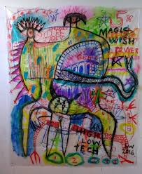 beth wittenberg magic wish acrylic and marker on plastic sheeting 96 x 60 2018 when i m not making art
