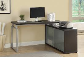 monarch specialties hollow core l shaped desk with frosted glass cappuccino ca home kitchen