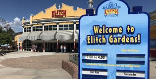 the entrance to the elitch gardens