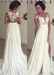Designer Sheath Wedding Dresses Designer Beach Wedding Dresses White With Lace Cap Sleeve Sheath Wedding Gowns Split Floor Length Formal Women Bridal Gowns Wedding Designer Dresses