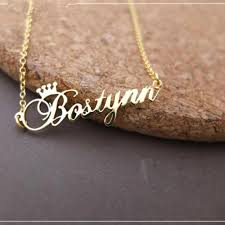 whole customized queen crown pendant necklace women name necklace letter chain rose gold stainless steel jewelry for femme wedding f horseshoe pendant