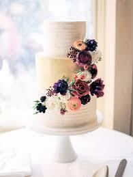 wedding cake. floral and metallic wedding cake