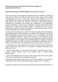 essay about world peace template essay about world peace