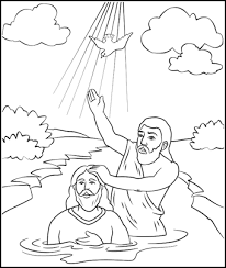 John the baptist baptizing jesus in the jordan river with the holy spirit appearing as a dove. Bible Coloring Page For Sunday School John The Baptist