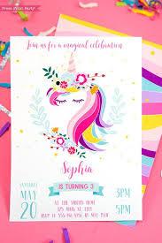 Print Birthday Invitation Unicorn Birthday Invitation Printable Unicorn Invitation