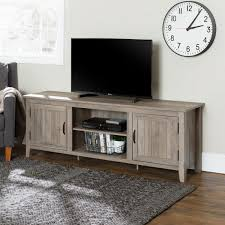 grey wash modern farmhouse entertainment center tv stand storage console with doors and center shelving