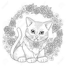 Actie Krans Kleurplaat Schattige Kitty Kleurplaat Met Bloemen