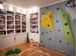 Decoration Cool Basement Design Ideas For Kids With Wall Climb