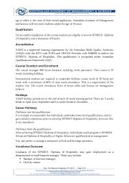 n academy of management science flyer sit diploma of   diploma of hospitality 2 flyer doc