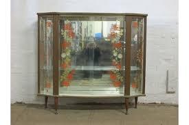 retro 1950s 1960s wood laminate glass sliding doors display or drinks cabinet photo