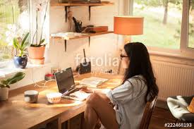 Sunny day home office Vector Woman In Blue Shirt Having Breakfast In Home Office And Looking Out Of The Window On Sunny Day Fotolia Woman In Blue Shirt Having Breakfast In Home Office And Looking Out