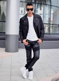 men s black leather biker jacket white crew neck t shirt black leather chinos white high top sneakers men s fashion lookastic com