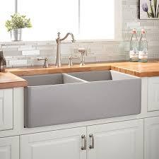 33 reinhard double bowl fireclay farmhouse sink gray