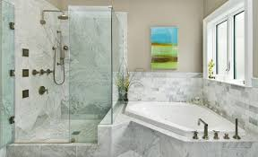 marble bathroom tiles corner built in tub