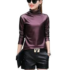 freshlook y women pu leather blouse turtleneck long sleeve faux leather wet look strechy t shirt high neck las tops plus size com