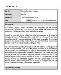 9 Operation Manager Job Description Samples Sample Templates