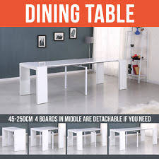 extending dinning bench long table high gloss white console 2 5m for 10 seaters