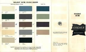 Austin Healey Color Chart Blue Streak Six Useful Technical Information