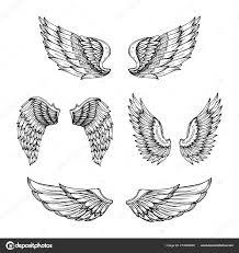 Ruční Nakreslené Křídlo Načrtněte Andělská Křídla S Peřím Vektor