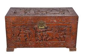 a carved camphor wood chest